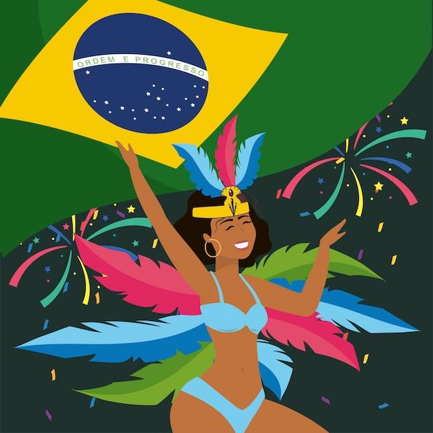 Netter mädchentänzer mit brasilien-flagge und -federn Premium Vektoren