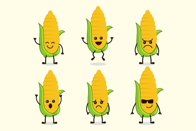 Netter mais-gemüsecharakter lokalisiert in den mehrfachen ausdrücken Premium Vektoren