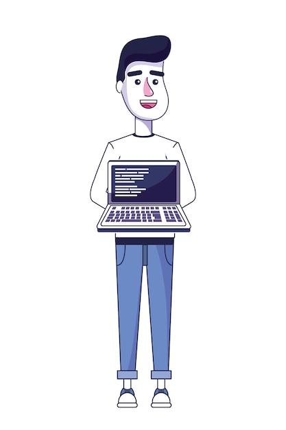 Netter mann mit laptop- und programmieren Premium Vektoren