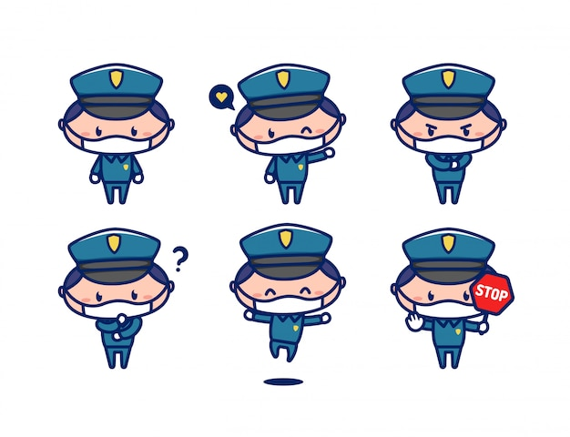 Netter maskottchencharakter des polizeibeamten im chibi-stil tragen gesichtsmaske Premium Vektoren