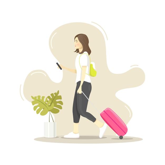 Netter moderner reisender, der ihr telefon beim gehen überprüft Premium Vektoren