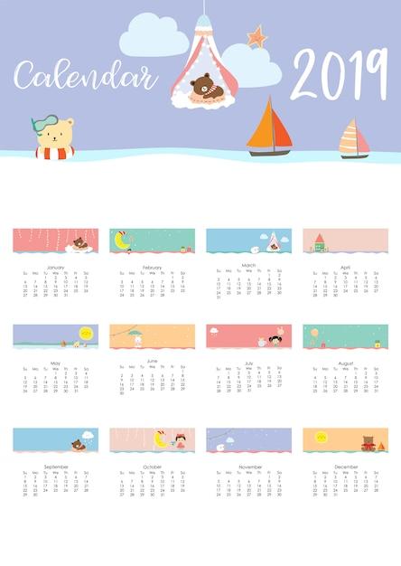 Netter monatskalender Premium Vektoren