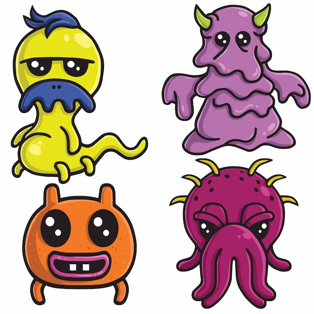Netter monster charakter design vector set Premium Vektoren