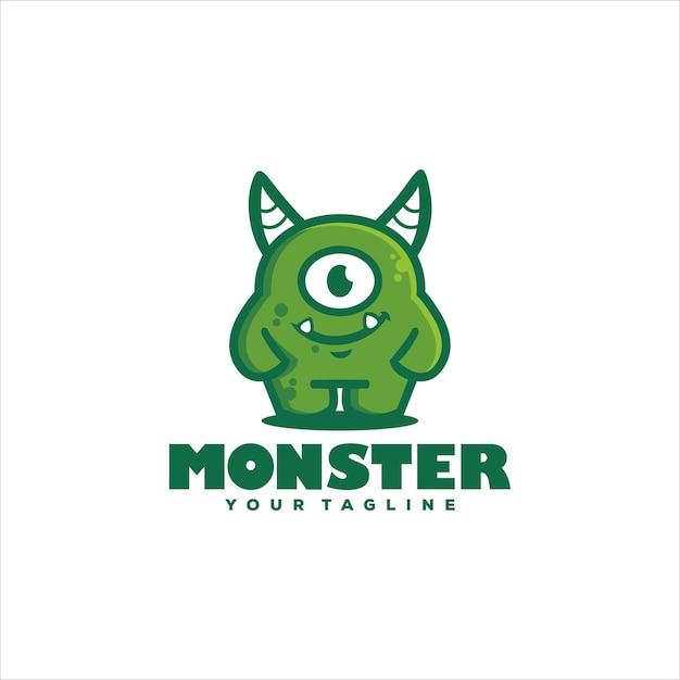 Netter monstergrüner logoentwurf Premium Vektoren