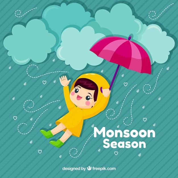 Netter monsunhintergrund mit kind und regenschirm Kostenlosen Vektoren