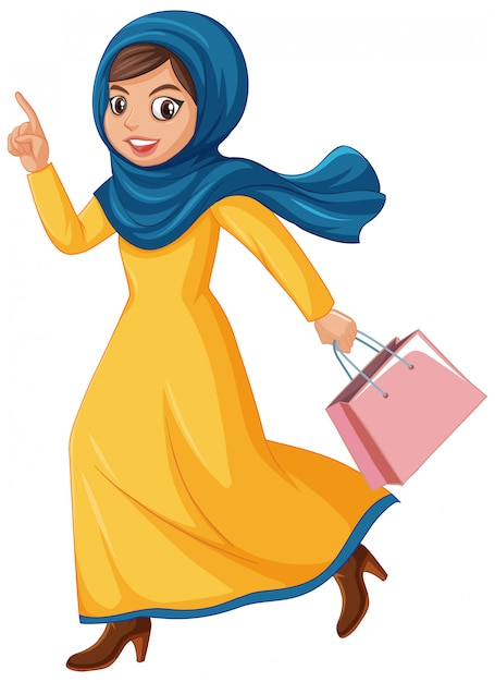 Netter muslimischer mädchencharakter Kostenlosen Vektoren