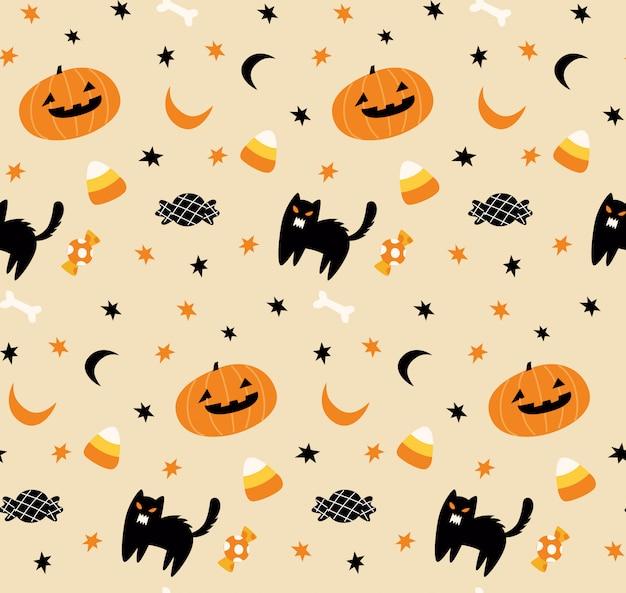 Netter nahtloser hintergrund halloweens Premium Vektoren