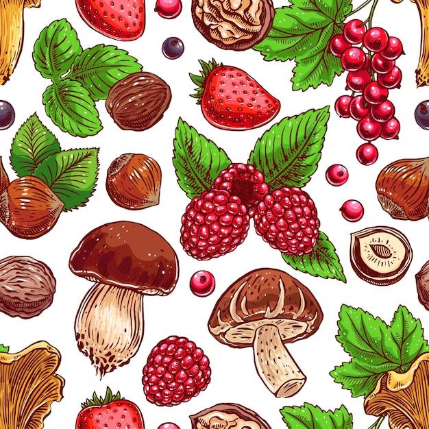 Netter nahtloser hintergrund mit bunten reifen beeren, nüssen und pilzen. handgezeichnete illustration Premium Vektoren