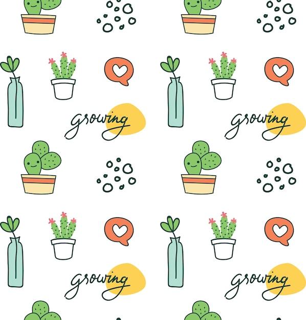 Netter nahtloser hintergrund mit kaktus Premium Vektoren