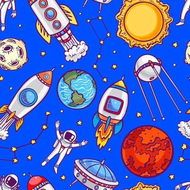 Netter nahtloser hintergrund von astronauten, planeten und raketen. handgezeichnete illustration Premium Vektoren