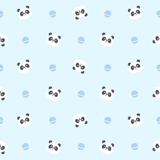 Netter nahtloser musterhintergrund des niedlichen pandabären und des planeten Premium Vektoren