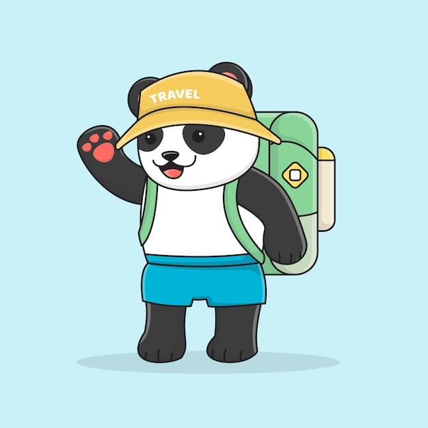 Netter panda backpacker mit hut Premium Vektoren