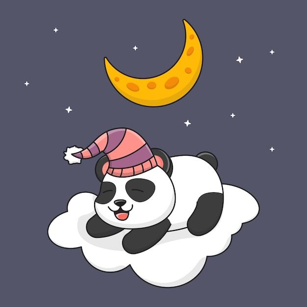 Netter panda, der auf wolke unter dem mond schläft Premium Vektoren