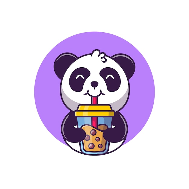 Netter panda, der boba-milchtee-karikatur-vektor-illustration tierfutter-konzept-isolierter vektor trinkt. flacher cartoon-stil Kostenlosen Vektoren