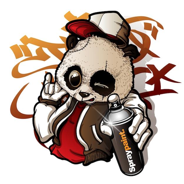 Netter panda des graffiticharakters, der eine sprühfarbe hält Premium Vektoren