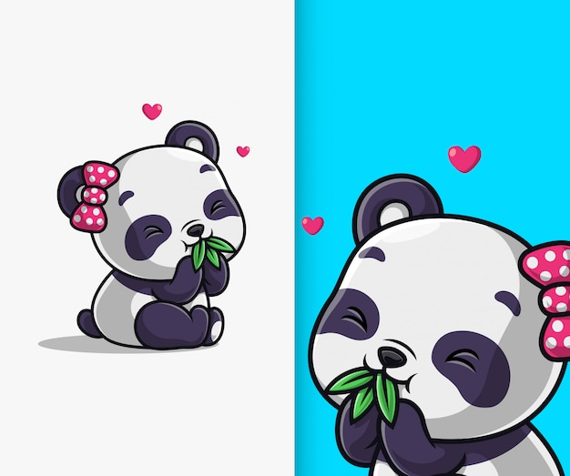 Netter panda essen bambusblattikonenillustration. panda maskottchen zeichentrickfigur. Premium Vektoren