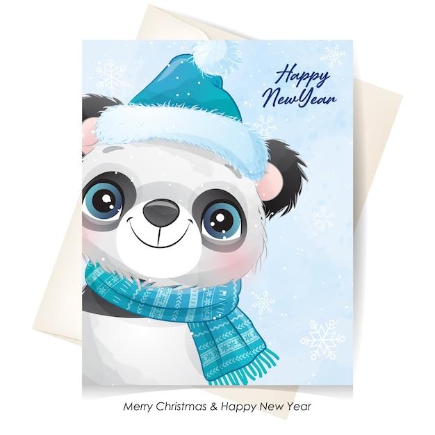Netter panda für weihnachten mit aquarellillustration Premium Vektoren