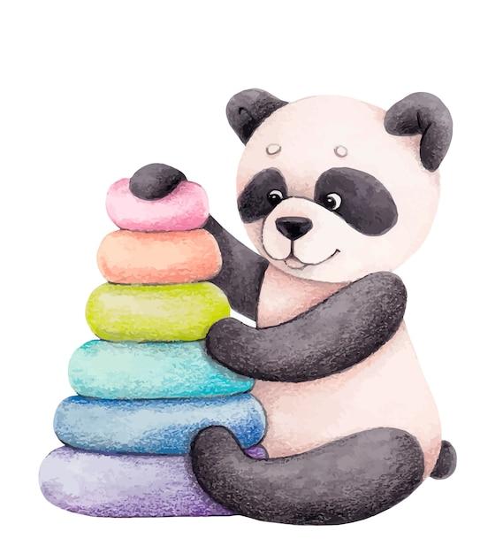 Netter panda mit einer spielzeugpyramide. kinderillustration Premium Vektoren
