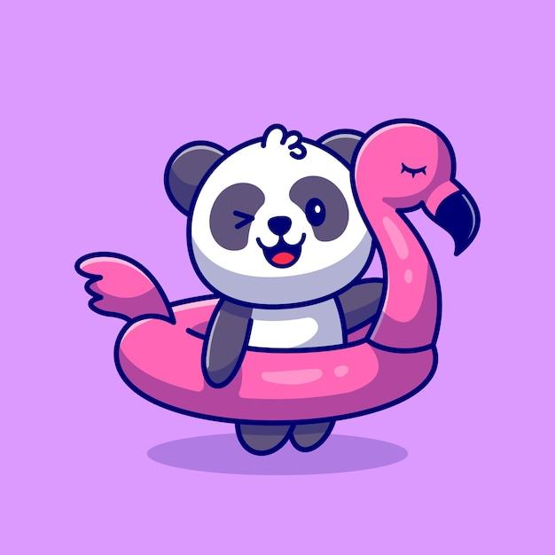Netter panda mit flamingo-reifen-karikatur-symbol-illustration. animal holiday icon concept premium. flacher cartoon-stil Kostenlosen Vektoren