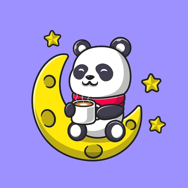 Netter panda trinken kaffee auf mondkarikatur. flacher cartoon-stil Kostenlosen Vektoren