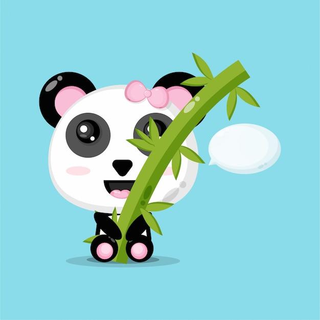 Netter panda umarmt bambus Premium Vektoren