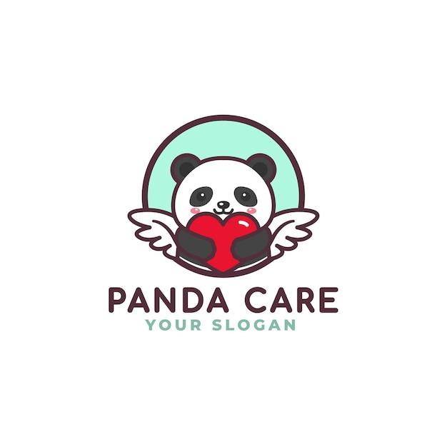 Netter panda umarmung herz pflege logo maskottchen baby shop Premium Vektoren