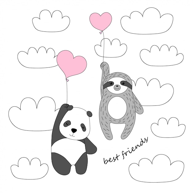 Netter panda und faultier fliegen auf ballons in den himmel Premium Vektoren