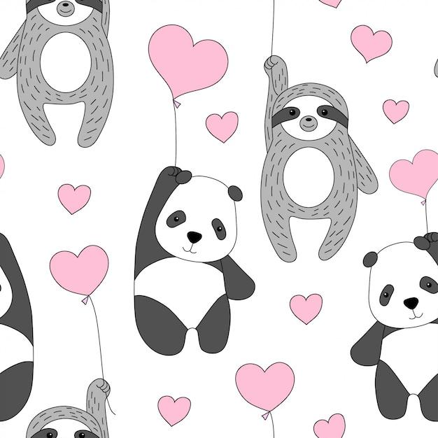 Netter panda und faultier fliegen auf ballons. Premium Vektoren