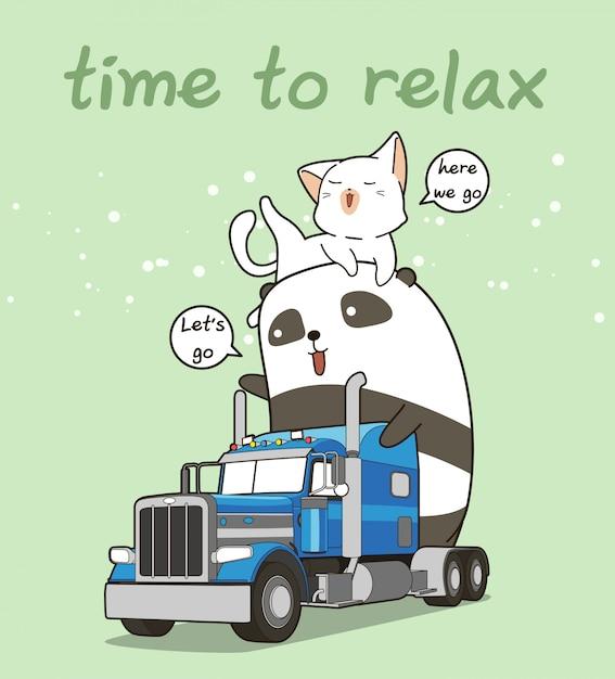 Netter panda und katze auf dem lkw in der ferienzeit Premium Vektoren