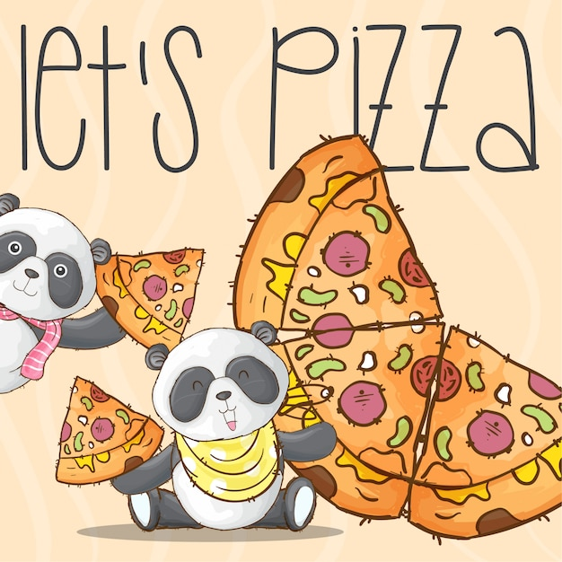 Netter pandatier und pizza abbildungvektor Premium Vektoren