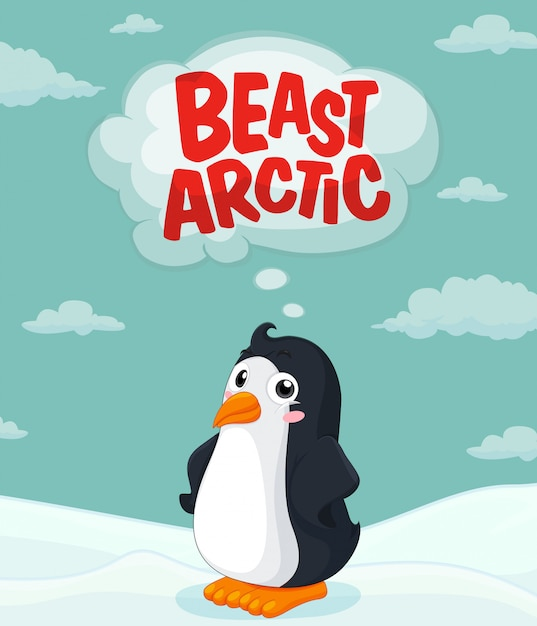 Netter pinguin, der auf eis steht Kostenlosen Vektoren