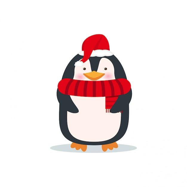 Netter pinguin in der weihnachtsmannmütze und im schal. weihnachtszeichentrickfilm-figur. feiertagskarte des neuen jahres Premium Vektoren