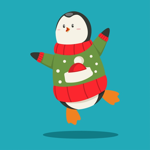 Netter pinguin in einem lustigen tiercharakter der hässlichen weihnachtsstrickjacken-karikatur an lokalisiert. Premium Vektoren