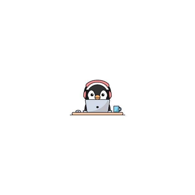 Netter pinguin mit dem kopfhörer, der an einem laptop arbeitet Premium Vektoren