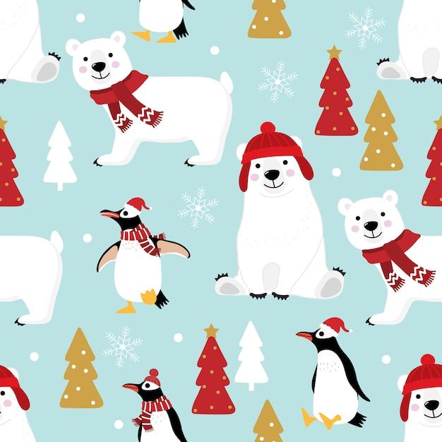 Netter pinguin und eisbär im nahtlosen muster des winterkostüms Premium Vektoren