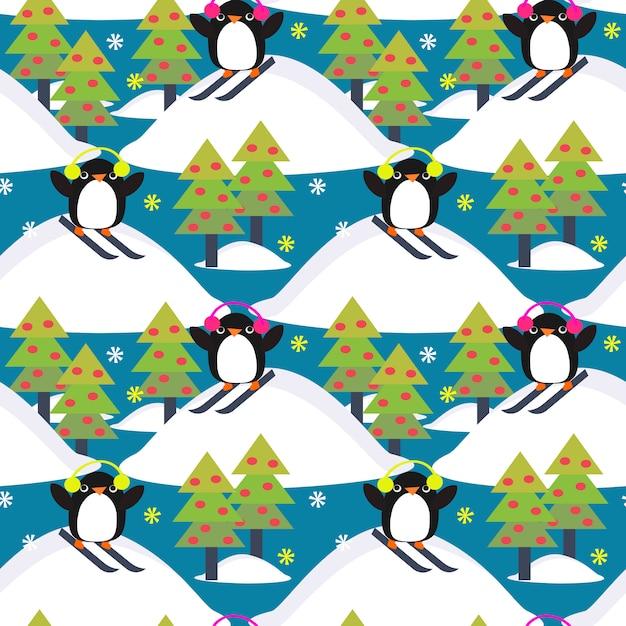 Netter pinguinspielski im wald. Premium Vektoren