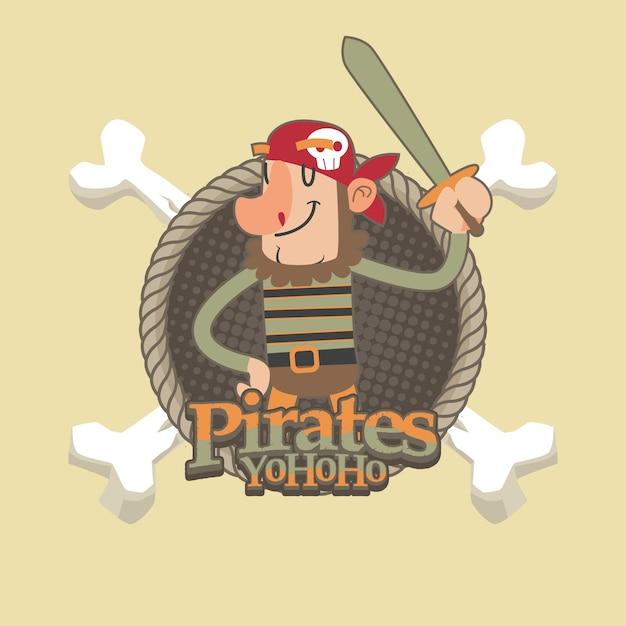 Netter piratenkarikatur-vektorhintergrund Premium Vektoren