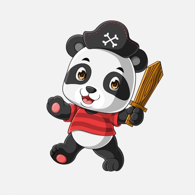 Netter piratenpanda-cartoon hand gezeichnet Premium Vektoren