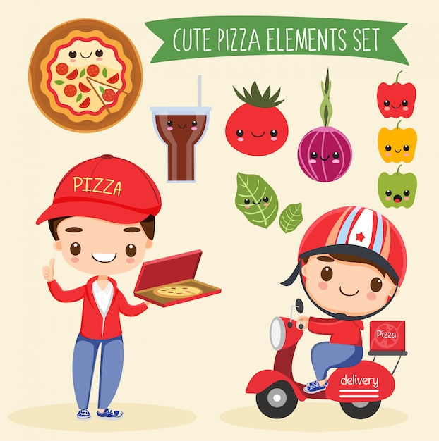 Netter pizze-elementkarikatursatz Premium Vektoren