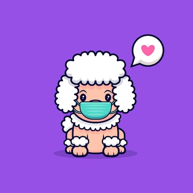 Netter pudel-hund, der maske cartoon-symbol-illustration trägt Premium Vektoren