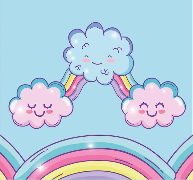 netter regenbogen mit kawaii flaumigen wolken  premiumvektor