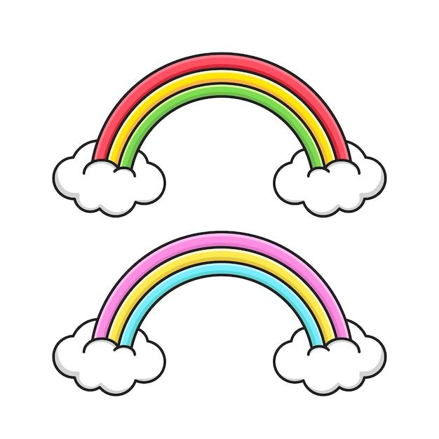 Netter regenbogen mit weißen wolken lokalisiert auf weiß Premium Vektoren