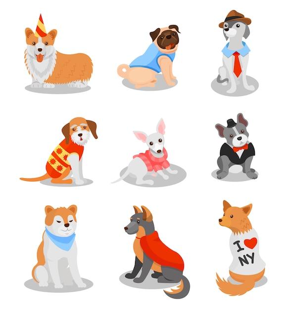 Netter reinrassiger welpensatz, stammbaumhundefiguren illustrationen auf einem weißen hintergrund Premium Vektoren
