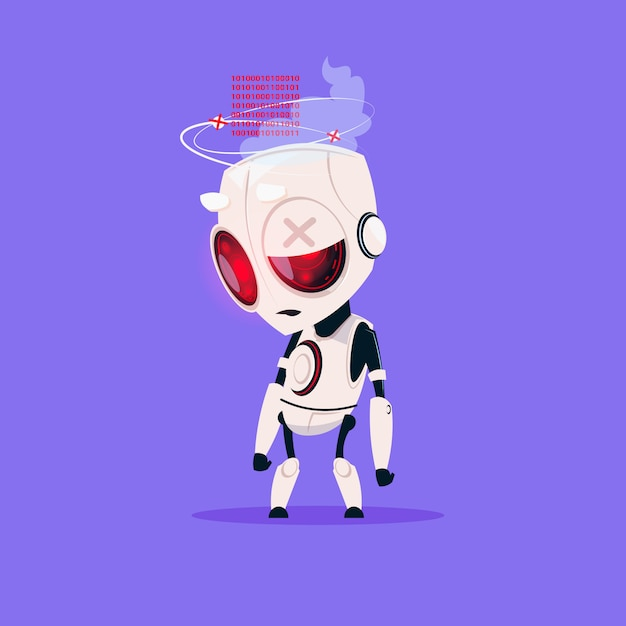Netter roboter gebrochene lokalisierte ikone auf blauem hintergrund-moderner technologie-konzept der künstlichen intelligenz Premium Vektoren