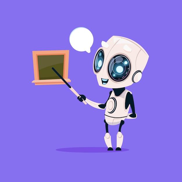 Netter roboter-lehrer hold pointer near school board lokalisierte ikone auf blauer hintergrund-moderner technologie Premium Vektoren