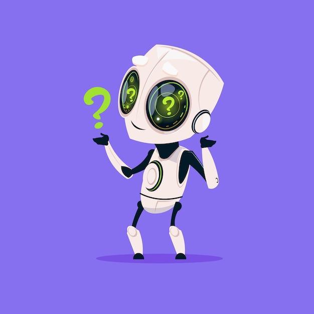 Netter roboter mit fragezeichen lokalisierte ikone auf blauem hintergrund moderne technologie-künstliche intelligenz Premium Vektoren