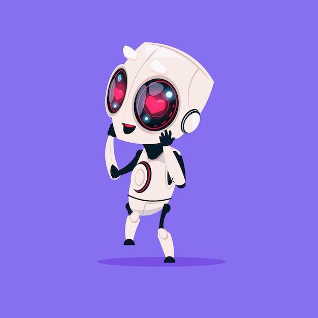 Netter roboter mit herz-formaugen lokalisierte ikone auf blauem hintergrund moderner technologie-künstlicher intelligenz Premium Vektoren