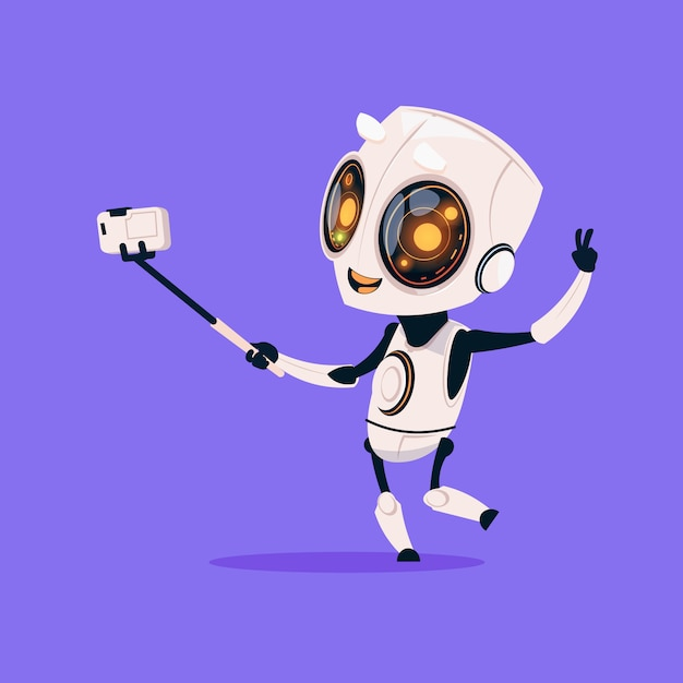 Netter roboter nehmen selfie foto lokalisiertes symbol auf blauem hintergrund-moderner technologie-künstlicher intelligenz Premium Vektoren