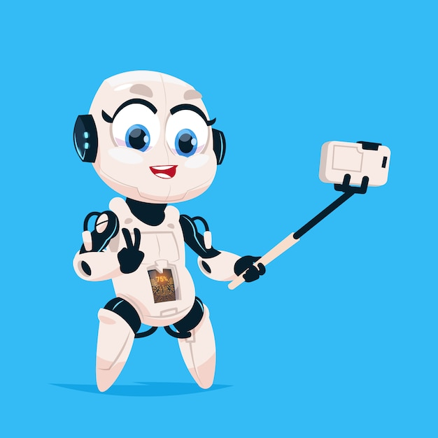 Netter roboter nehmen selfie-foto-robotermädchen lokalisierte ikone auf blauem hintergrund Premium Vektoren