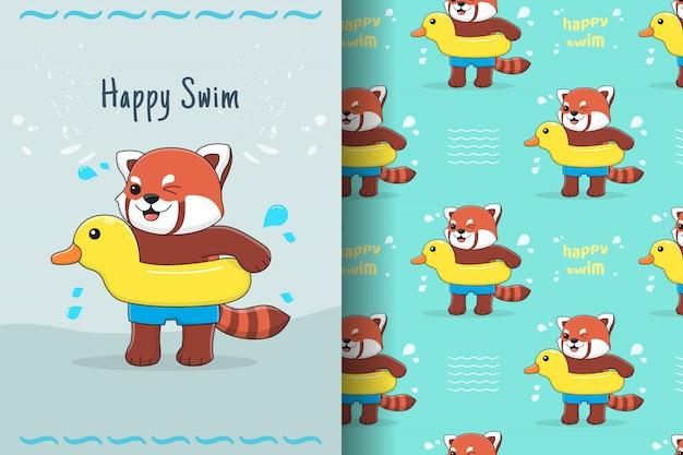 Netter roter panda mit nahtlosem muster und karte der gummiente Premium Vektoren